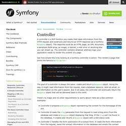 Controller (The Symfony Book)