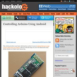 Controlling Arduino Using Android | HACKOLOG - Amazing Hacks and Mods