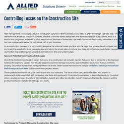 Controlling Losses on the Construction Site