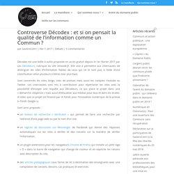 Controverse Décodex : et si on pensait la qualité de l'information comme un C...