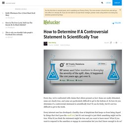How to Determine If A Controversial Statement Is Scientifically True