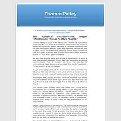 """Thomas Palley » Blog Archive » The accidental controversialist: deeper reflections on Thomas Piketty's """"Capital"""""""