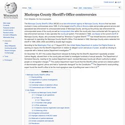 Maricopa County Sheriff's Office controversies