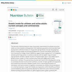 2016 Protein intake for athletes and active adults: Current concepts and controversies