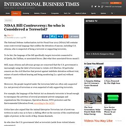 NDAA Bill Controversy: So who is Considered a Terrorist?