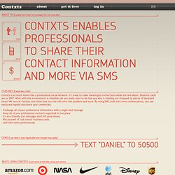 contxts - mobile sms business cards