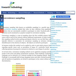 Convenience sampling - Research Methodology
