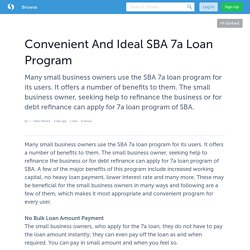 Convenient And Ideal SBA 7a Loan Program