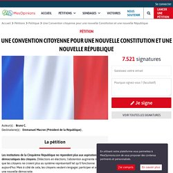 Une Convention citoyenne pour une nouvelle Constitution et une nouvelle République