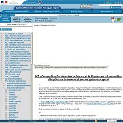 INT - Convention fiscale entre la France et le Royaume-Uni en matière d'impôts sur le revenu et sur les gains en capital