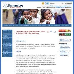Convention Internationale relative aux Droits de l'Enfant (extraits choisis)