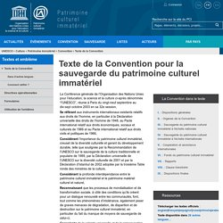 Texte de la Convention pour la sauvegarde du patrimoine culturel immatériel - patrimoine immatériel - Secteur de la culture - UNESCO