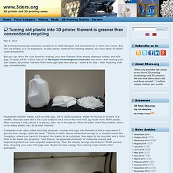 Turning old plastic into 3D printer filament is greener than conventional recycling