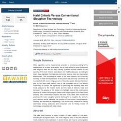 ANIMALS 05/08/19 Halal Criteria Versus Conventional Slaughter Technology