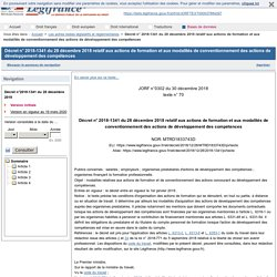 2018-1341 du 28 décembre 2018 relatif aux actions de formation et aux modalités de conventionnement des actions de développement des compétences