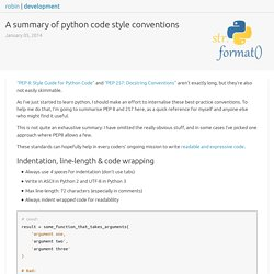 A summary of python code style conventions