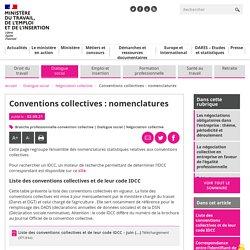 Conventions collectives : nomenclatures - Ministère du Travail, de l'Emploi et de l'Insertion