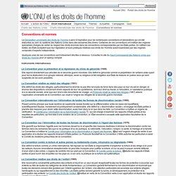 Conventions et normes. L'ONU et les droits de l'homme
