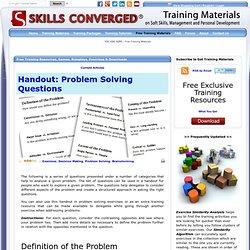 Handout: Problem Solving Questions