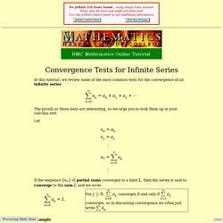 Convergence Tests for Infinite Series - HMC Calculus Tutorial