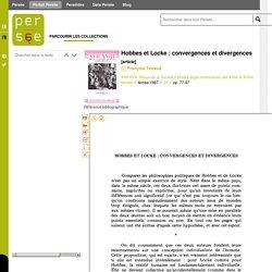 Hobbes et Locke : convergences et divergences