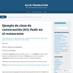 Ejemplo de clase de conversación (A1): Pedir en el restaurante