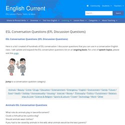 ESL Conversation Questions (EFL discussion questions on many topics) English Current