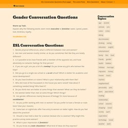 Gender Conversation Questions - PRINT DISCUSS