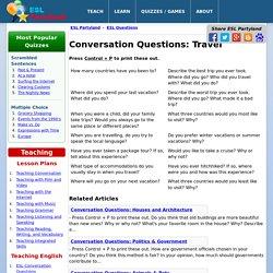 ESL Conversation Questions: Travel