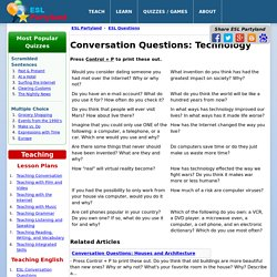 ESL Conversation Questions: Technology