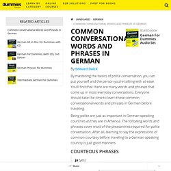 Common Conversational Words and Phrases in German - dummies