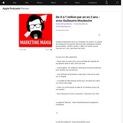 Marketing Mania - Conversations d'entrepreneurs: De 0 à 1 million par an en 2 ans - avec Guillaume Moubeche on Apple Podcasts