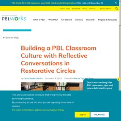 Building a PBL Classroom Culture with Reflective Conversations in Restorative Circles