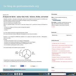 Analyse de tâche : autour des mots : lecture, dictée, converser - Le blog de gestionmentale.org