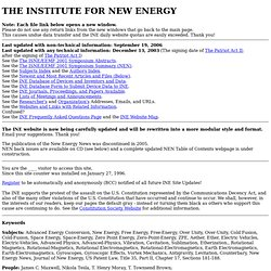 The Institute For New Energy: Advanced Energy Conversion, Physic