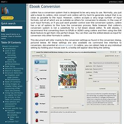 Conversion ebook - Manuel de l'utilisateur de calibre