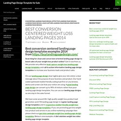 Best conversion centered weight loss landing pages 2014