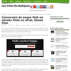 Conversion de pages Web en ebooks Mobi ou ePub, Ebook Glue