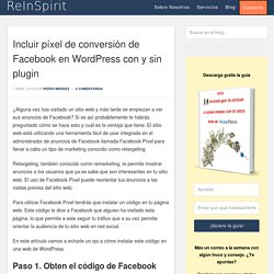 Incluir píxel de conversión de Facebook en WordPress con y sin plugin