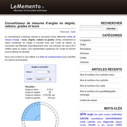Conversion de mesures d'angle en degrés, radians, grades et tours
