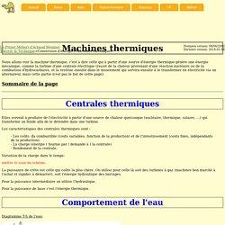 Le projet méhari - Théorie & Technique - Conversion d'énergie - Machines thermiques