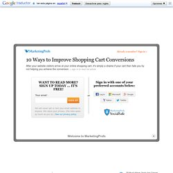Web Sites - 10 Ways to Improve Shopping Cart Conversions