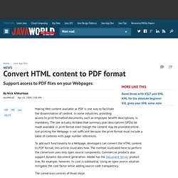 Convert HTML content to PDF format - Java World