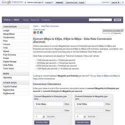 Convert Mbps to KBps, KBps to Mbps - Data Rate Conversion