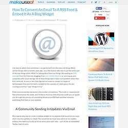 Convert An Email To A RSS Feed