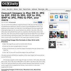 Convert Images in Mac OS X: JPG to GIF, PSD to JPG, GIF to JPG, BMP to JPG, PNG to PDF, and more