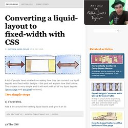 How to convert a liquid-layout to a fixed-width design with simple CSS