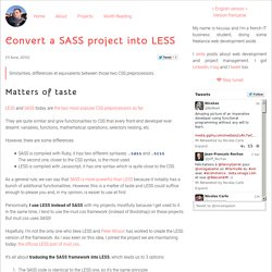 Convert a SASS project into LESS