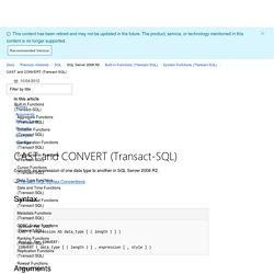 CAST and CONVERT (Transact-SQL)