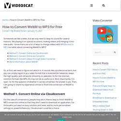 How to Convert WebM to MP3 for Free
